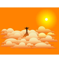statue of Jesus Christ in the clouds vector image vector image
