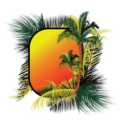 Summer frame with palm trees vector