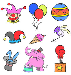 various object circus set doodles vector image vector image