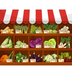 Vegetable market stall with fresh veggies vector image