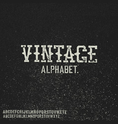 vintage stamp alphabet on black grunge background vector image vector image