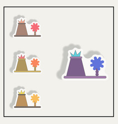 Volcano eruption sticker volcano and tree set vector