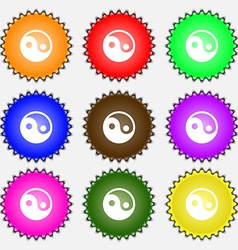 Ying yang icon sign a set of nine different vector