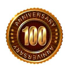 100 years anniversary golden brown label vector