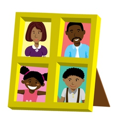 frame with african family portrait vector image
