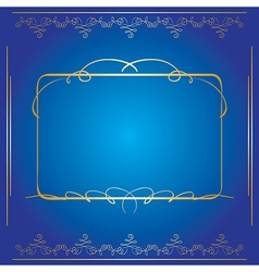 Blue background with golden frame vector