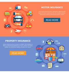 Vehicle and house insurance horizontal banners vector