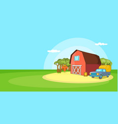 farm horizontal banner landscape cartoon style vector image