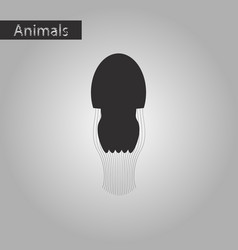 black and white style icon of jellyfish vector image
