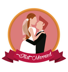 just married groom carrying bride label vector image