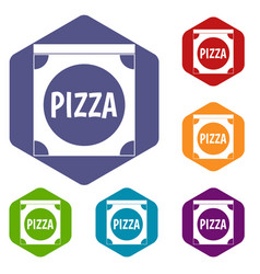 pizza box cover icons set hexagon vector image