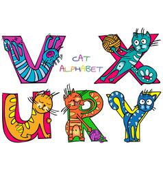 cat alphabet r u v x y vector image