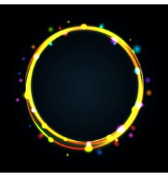 Multicolor glowing circle frame with sparkles vector