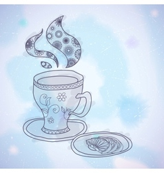 Watercolor teacup vector