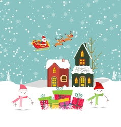 Merry christmas card with santa claus snowman gift vector