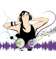 Listening to the music vector