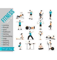 Training people icons set for sport and fitness vector