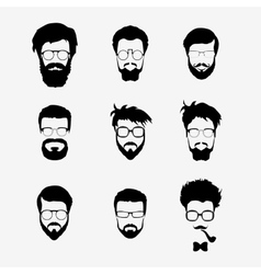 Set of hipster style haircut glasses vector