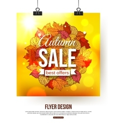 Autumn sale flyer with shining foliage autumn vector