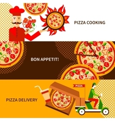 Pizza delivery flat horizontal banners set vector
