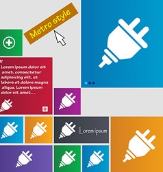 Plug icon sign buttons modern interface website vector