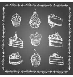 Chalk desserts and bakery products set vector