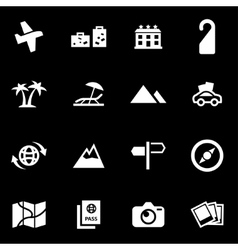 White travel icon set vector