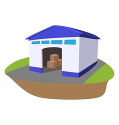 Warehouse with open door cartoon icon vector