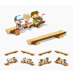 Low poly rough wooden bench vector