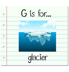 Flashcard letter g is for glacier vector