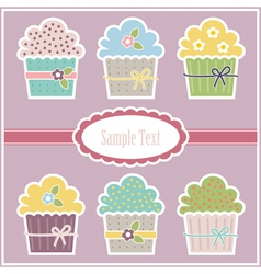 greeting card with cupcakes vector image
