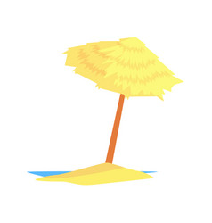 beach straw umbrella cartoon vector image