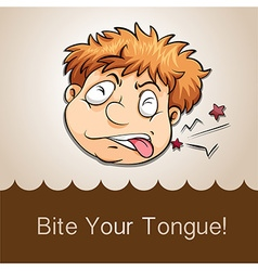 Bite your tongue idiom vector image vector image