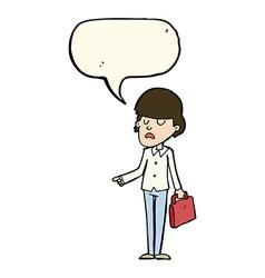 Cartoon arrogant businessman pointing with speech vector