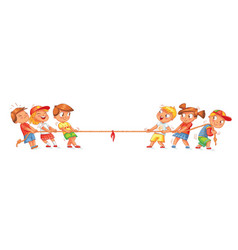 children pull the rope kids playing tug of war vector image