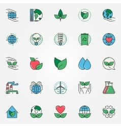 Colorful eco icons set vector image