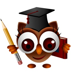 cute owl with pencil and book vector image