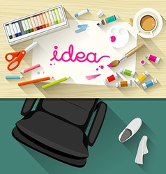 Designer desk artist collections of flat design vector image