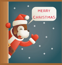 dog year 2018 merry christmas santa looking out vector image