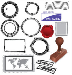 empty postage stamps rubber stamps and wax seal vector image vector image