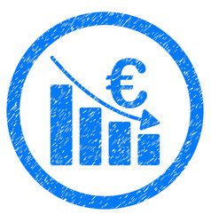 Euro recession rounded icon rubber stamp vector