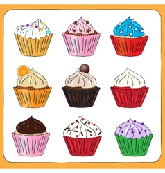 Fancy sketchy cupcakes collection vector