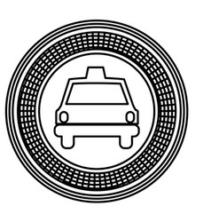 Figure emblem taxi front car icon vector