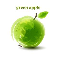 Fresh green apple on white background vector