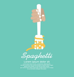 Hand Holding Fork With Spaghetti vector image vector image