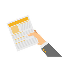 Hand with document page vector