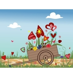 Handcart with blossoming hearts on sky background vector