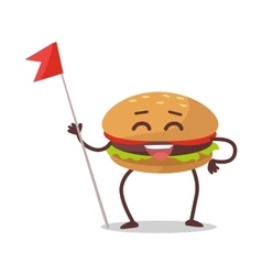 Happy hamburger cartoon character vector
