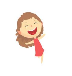 happy smiling cartoon girl kids outdoor activity vector image vector image