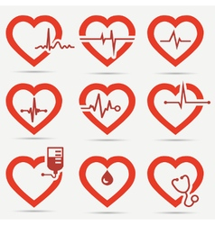 Heart Icon Set vector image vector image